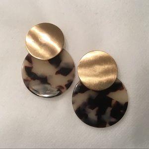 Metal Disk and Acetate Disc Earrings